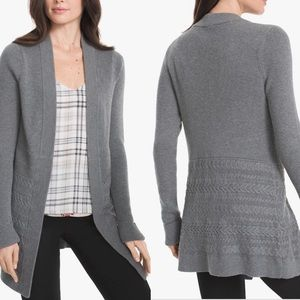 WHBM Cable Knit Open Front Cardigan S